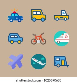 icons Transport with mini car, medical airplane, car, caravan and police car