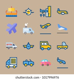 icons Transport with offroad, pink car, cabriolet, aeroplane and airport