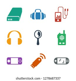 icons. Trendy 9 portable icons. Contain icons such as portable game console, usb al, portable console, walkie talkie, mirror, headset. portable icon for web and mobile.