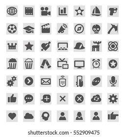 Icons for TV programs on TV websites and TV and movie guides.  Genres and types of TV programs