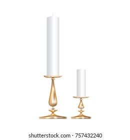 Icons of two realistic bronze candlesticks with candles isolated on white background