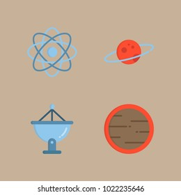 icons Universe with planet earth, mars, satellite dish, planet and saturn ring