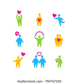 Icons with Valentine's day signs and symbols. Vector design.