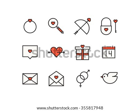 Icons Valentines Day Signs Symbols Stock Vector Royalty Free