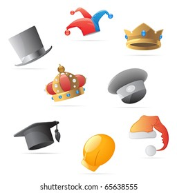 Icons for various hats. Vector illustration.