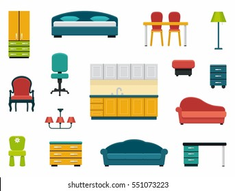 Icons of various kinds of furniture for home and office.