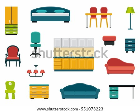 kinds of furniture dresser icons of various kinds furniture for home and office various kinds furniture home office stock vector royalty free