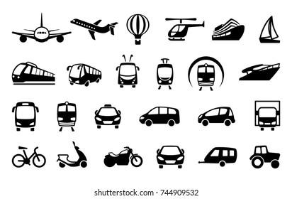 Symbole verschiedener Transportmittel. Vektorgrafik