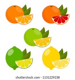 icons vector citrus fruits: orange, lemon, lime, grapefruit, tangerine, mandarine. set with whole fruit and a slice with leaves. vector illustration in a flat style.