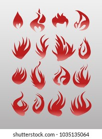 Icons vector flames, fire. Fire icon set - security leads to prosperity