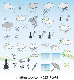 Icons for weather forecast, vector illustration