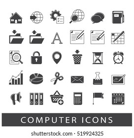 Icons for web and communication technology. Collection of premium quality computer icons.