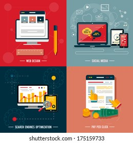 Icons for web design, seo, social media and pay per click internet advertising in flat design