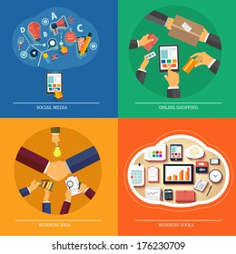 Icons for web design, seo, social media, online shopping, business idea, business tools