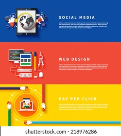 Icons for web design, seo, social media and pay per click internet advertising in flat design. Business, office and marketing items icons.