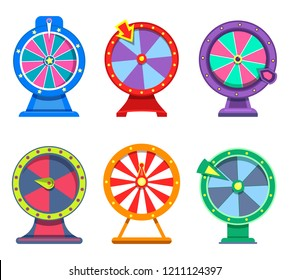 Icons of wheels of fortune for betting site or gambling roulette with arrows for internet casino. Lottery opportunity and betting, game addiction and winner, gambling and gaming, winning theme