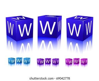 icons of www letters on blue and violet blocks. vector illustration isolated on white background.