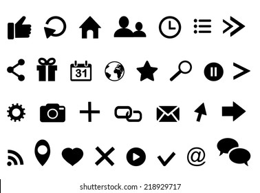 Icons:clock arrow present calendar email twitter geolocation cloud faceboo retweet bubble facebook  rss photo  like profile home insta location favorite search cursor logo Vector illustration eps 10
