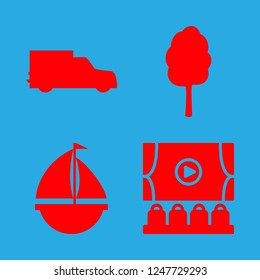 [IconsCount] fun vector set. With yacht, cinema and waggon icons in set