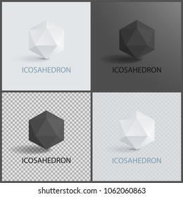 Icosahedron geometric 3D shapes in black and white colors on transparent dark and light backgrounds set. Icosahedron geometry figure in dimension vector