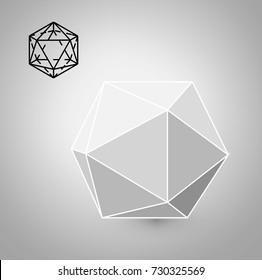 icosahedron is a geometric figure. Hipster Fashion minimalist design. Film solid bodies. icosahedron flat design vector illustration, fine art line. Vector illustration.