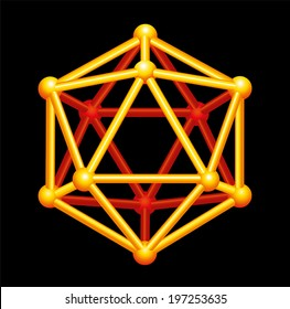 Icosahedron Gold Three-dimensional Shape - A Platonic Solid in geometry, a polyhedron with twenty triangular faces, thirty edges and twelve vertices. Vector structure isolated on black background.