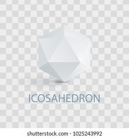 Icosahedron isolated white three-dimensional shape. Complicated geometric figure composed of regular triangles that casts shade vector illustration on transparent background