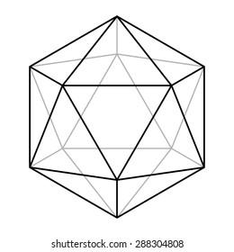 Icosahedron line drawing, sacred geometry, platonic solid, logo design, vector illustration