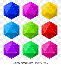 icosahedron with transparency in different colors for design and logos. Vector Illustration, editable and isolated on background.
