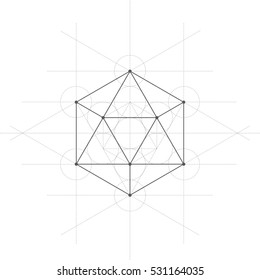 Icosahedron, a vector illustration of icosahedron with lines on white background