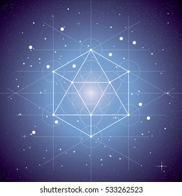 Icosahedron, a vector illustration of icosahedron on dark blue space background with stars