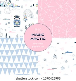 Icy Antarctic nature pattern set. Noth Pole nature with little Eskimo Yurt Reindeer in decorative Scandinavian style. Polygonal linear pink neutral seamless background. Geometric triangle texture