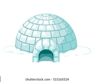 Icy cold home or house, winter built from ice blocks. Vector igloo illustration