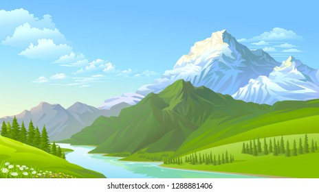The icy mountains, the green hills and the cold flowing river.