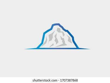 Icy rocky mountain logo concept, simple, flat design