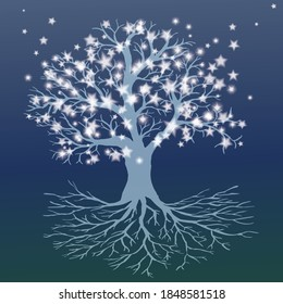 An icy tree of life with a full starry crown and roots. The trunk is icy transparent blue and the leafst are white stars. The background is dark.