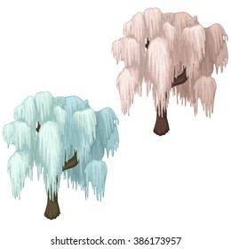 Icy trees. Vector illustration.