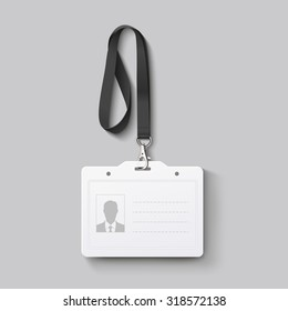id badge with lanyard. Vector illustration EPS 10