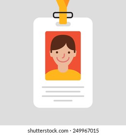 Id card for businessman. Vector illustration. Flat design style