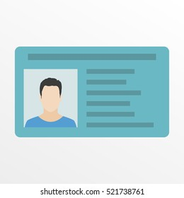 ID card or Car driver license. Vector illustration in flat style.