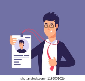 Id card concept. Employee man with identity badge. Business security and identification vector illustration. Identity id card for pass security, identification plastic