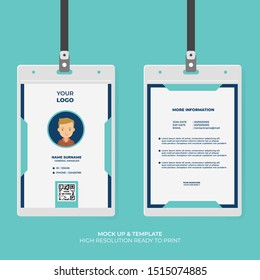ID Card Design Template with Abstract Shape . Easy to Use and Customize. Ready to Print. Vector Illustration