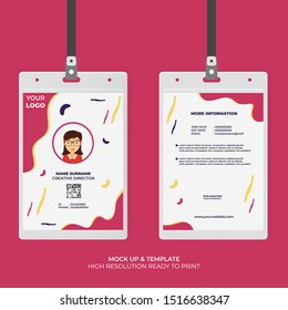 ID Card Design Template with Abstract Shape Style. Easy to Use and Editable Template. Ready to Print. Vector Illustration