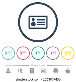 ID card flat color icons in round outlines. 6 bonus icons included.