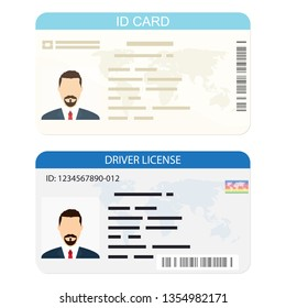 ID Card. Flat design style. Driver License isolated