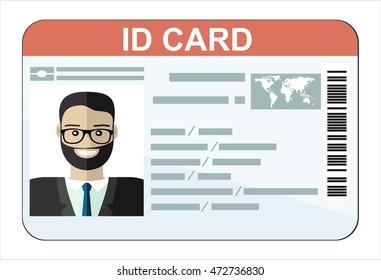 ID Card. Flat design style.