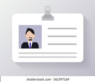 Id card, flat design vector.