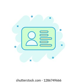 Id card icon in comic style. Identity badge vector cartoon illustration pictogram. Access cardholder people business concept splash effect.