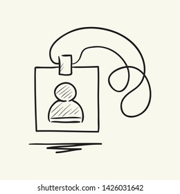 ID Card icon in doodle sketch lines. Identity office worker businessman