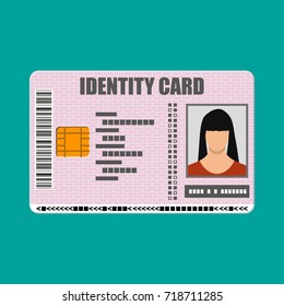 ID card icon. Identity card, national id card, passport card with electronic chip and woman photo. Vector illustration in flat design